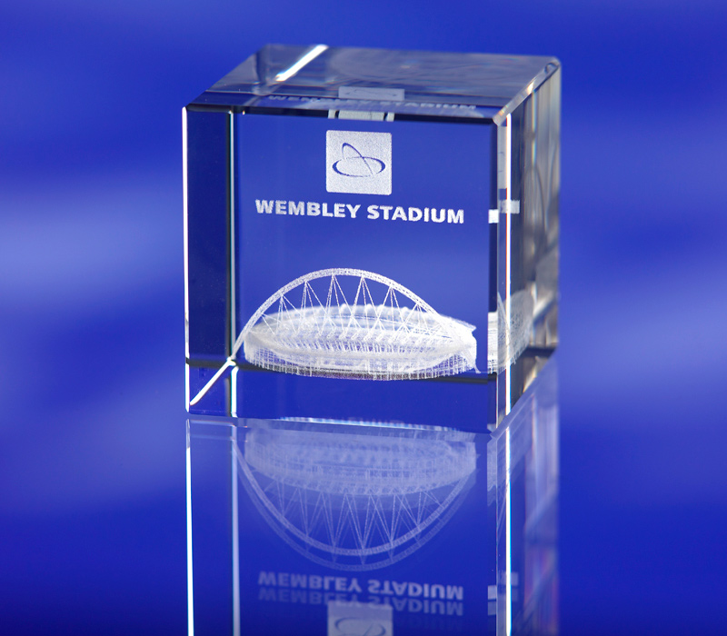 3d crystal bevelled glass cube Wembley Stadium