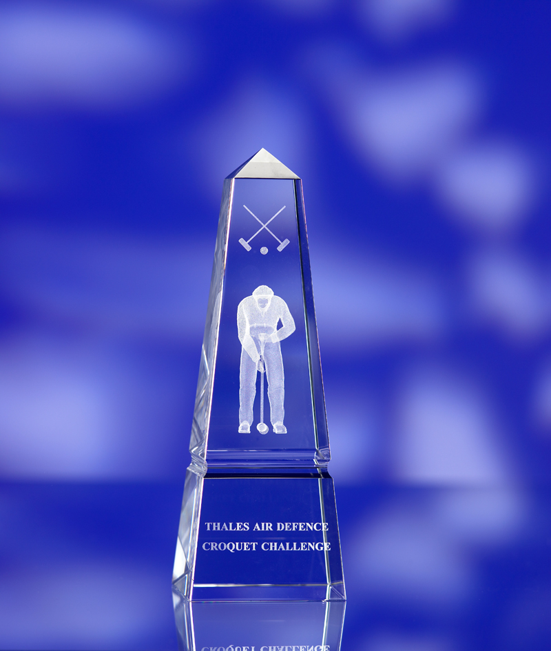 3D crystal obelisk glass award trophy croquet
