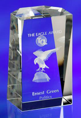 CRYSTAL GLASS SHOWCASE PAPERWEIGHT or AWARD TROPHY with 3D Laser Engraved Image & Logo in Centre