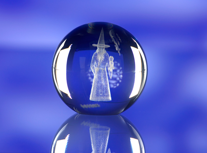 CRYSTAL GLASS SPHERE PAPERWEIGHT or AWARD TROPHY with 3D Laser Engraved Image & Logo in Centre
