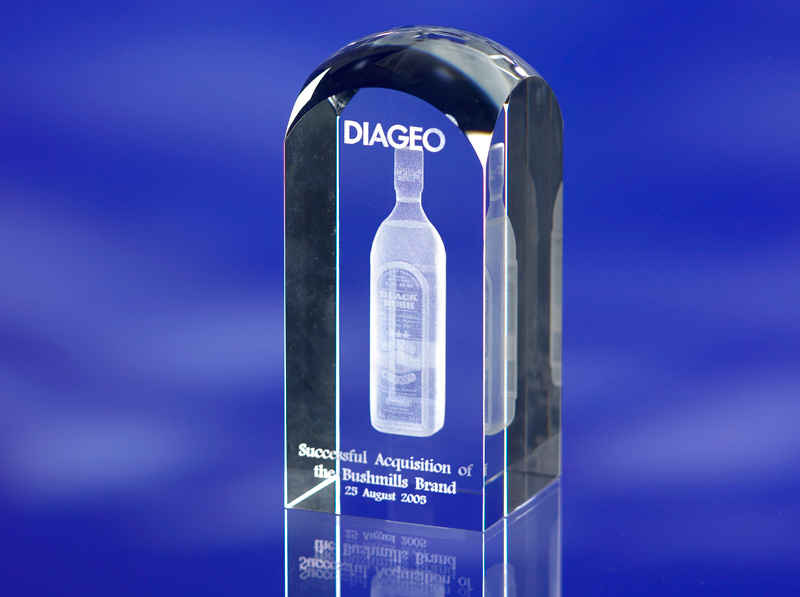 CRYSTAL GLASS TOWER AWARD TROPHY or PAPERWEIGHT with 3D Laser Engraved Image & Logo in Centre