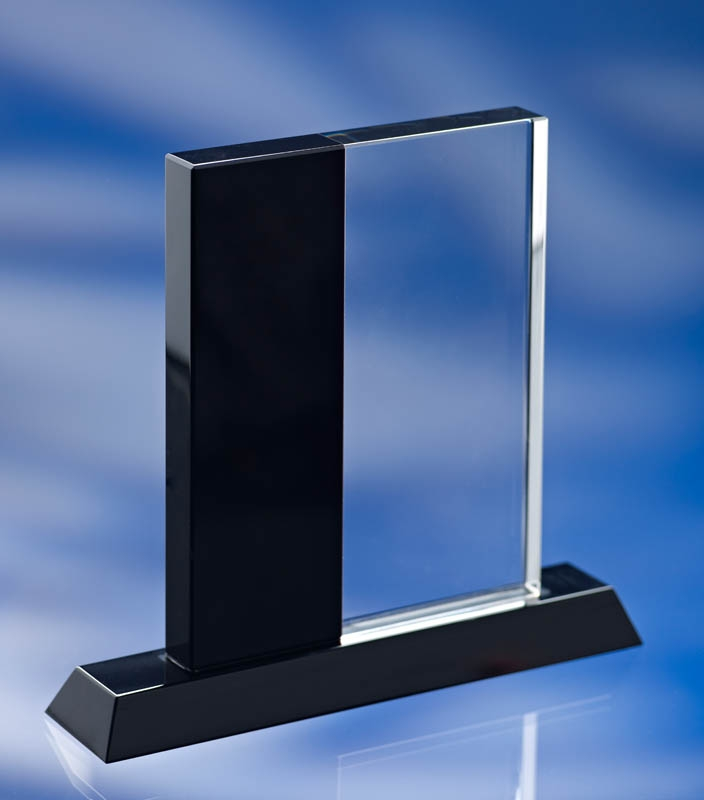 BLACK SIDED GLASS AWARD TROPHY