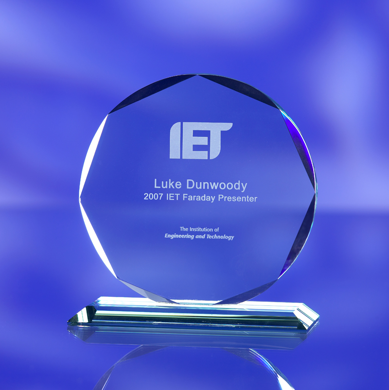 3d laser crystal faceted jade glass award trophy- Institute of Engineering & Technology