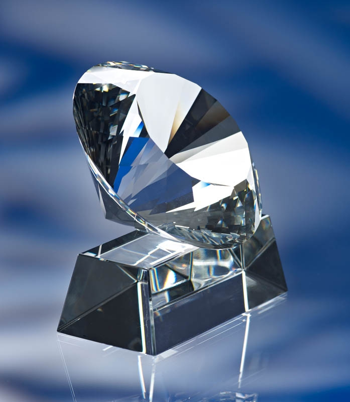 3d crystal glass diamond award trophy with base