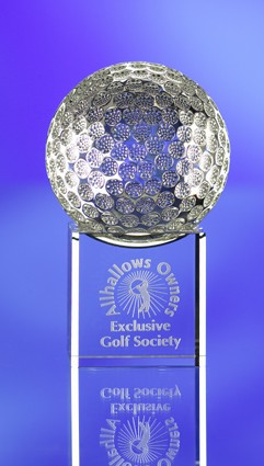 GLASS GOLF BALL TROPHY on BASE
