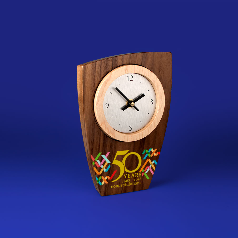 Real Wood Clocks, contrasting wood clock face surround