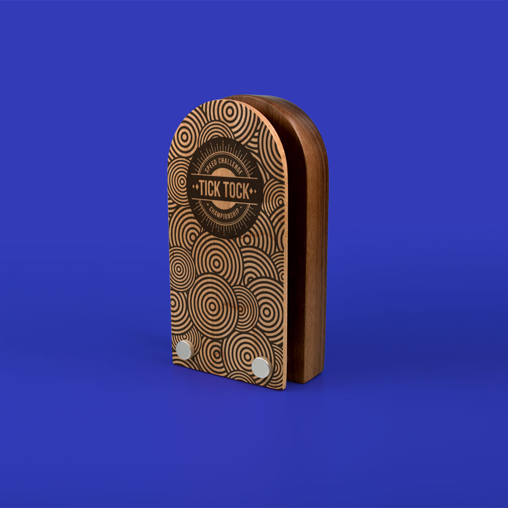 Real Wood Block Award With Wood Face Plate, standard shapes