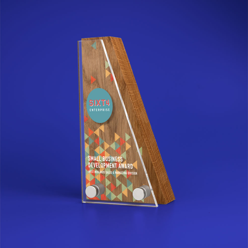 Real Wood Block Award With Acrylic Front, basic standard shapes