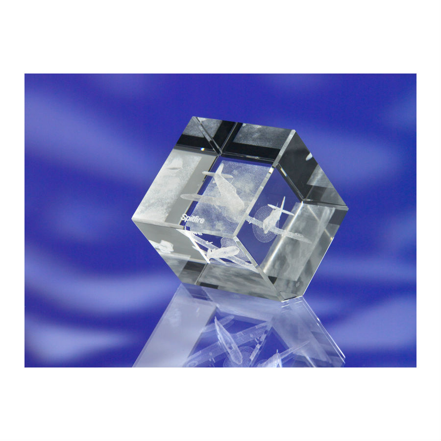 3D CRYSTAL GLASS CUBE PAPERWEIGHT or AWARD TROPHY with 3D Laser Engraved Image & Logo in Centre