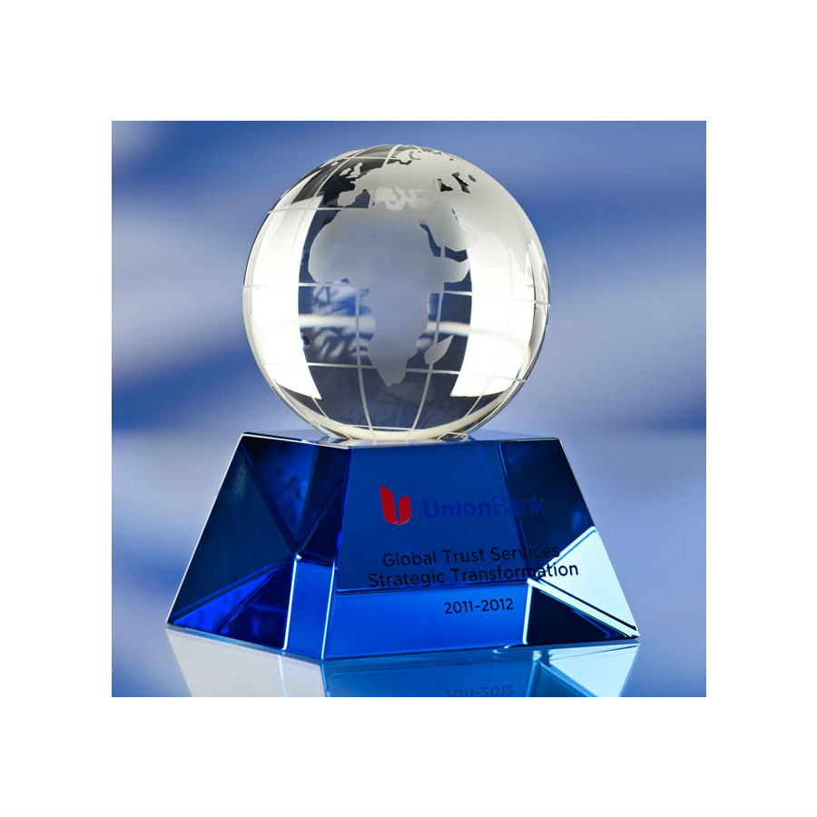 3D crystal blue based glass globe award trophy Union Bank