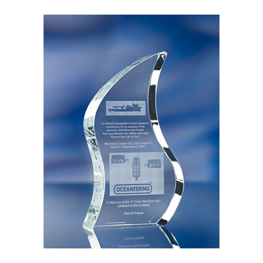 3D crystal flame glass award trophy