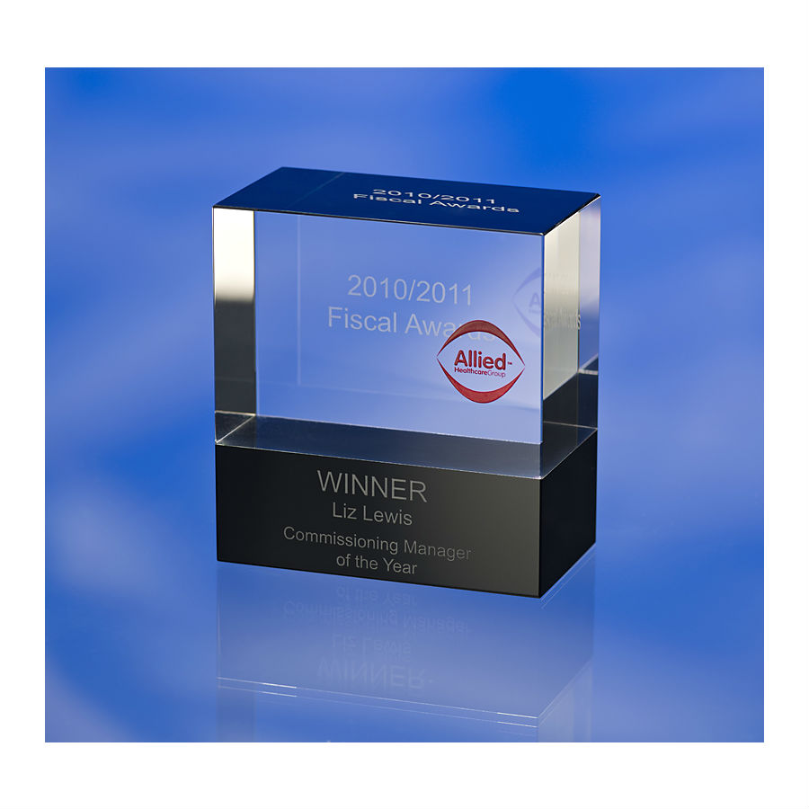 3D crystal glass cube block award trophy Allied Healthcare Group