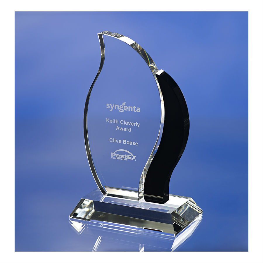 3D crystal glass flame award trophy