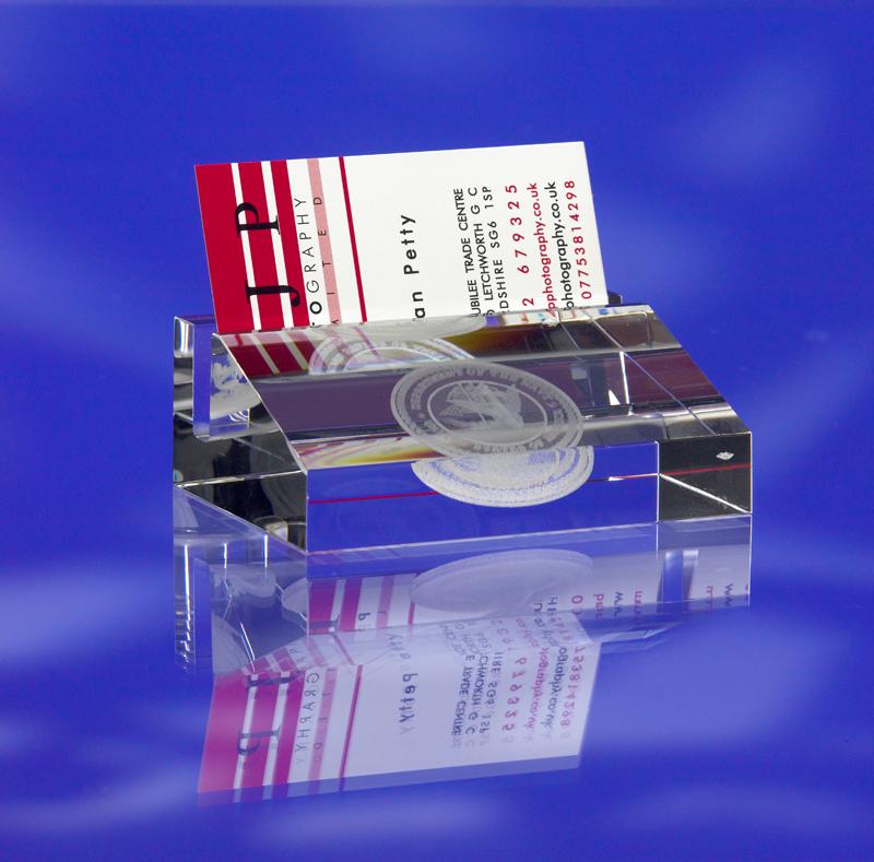 3d crystal business card holder engraved with logo - 3D Crystal Art