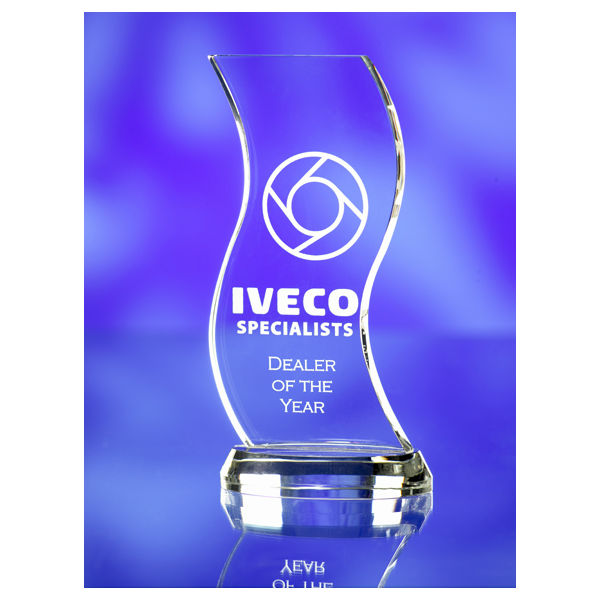 3d crystal curved glass award trophy Iveco