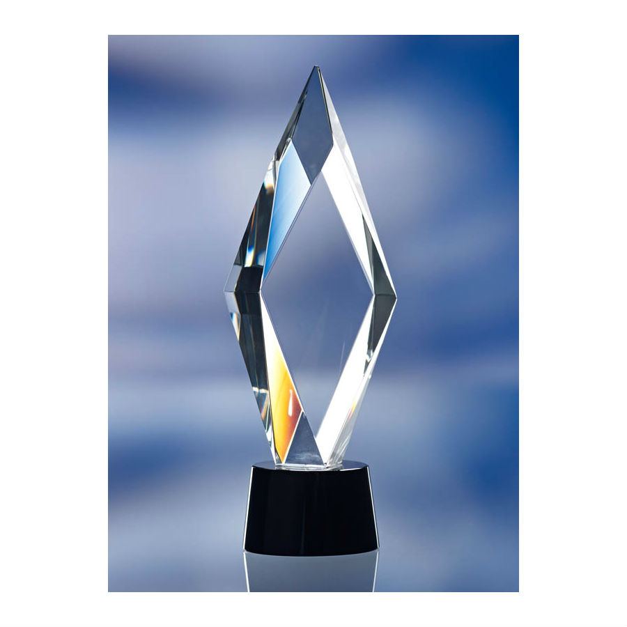 3d crystal diamond cut tower glass award trophy