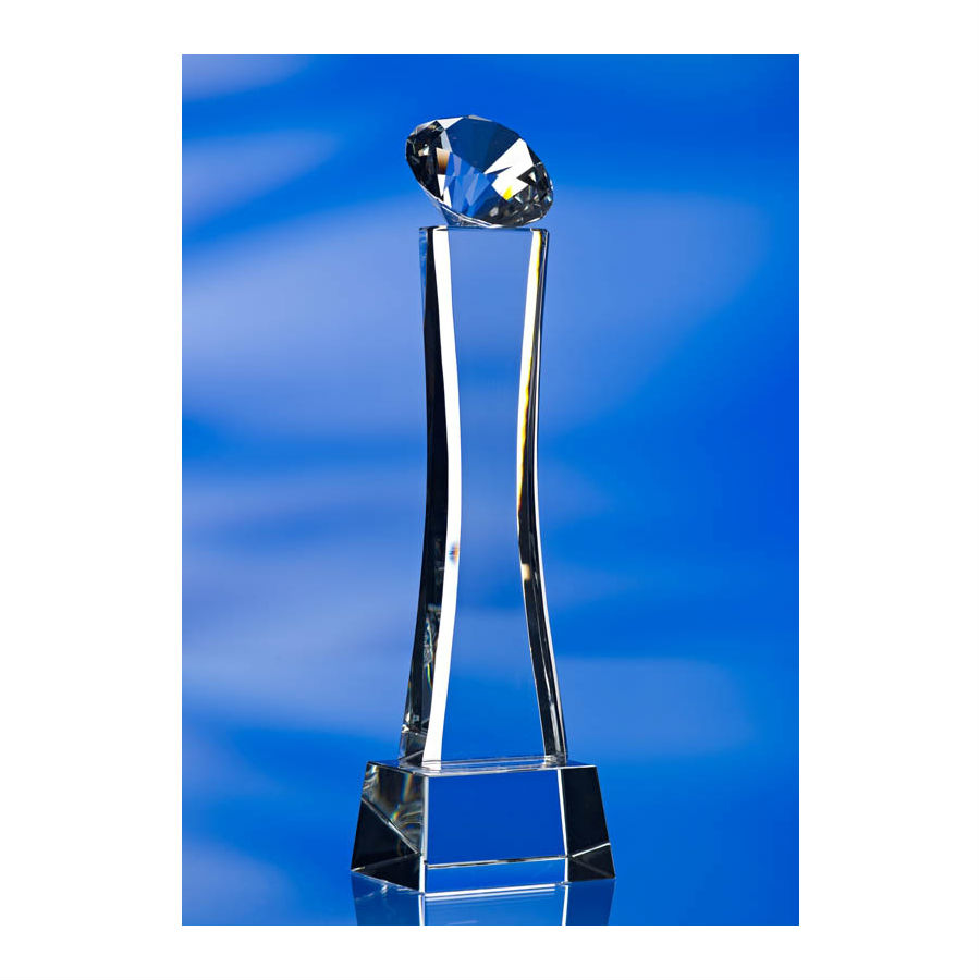 3d crystal diamond pillar glass award trophy