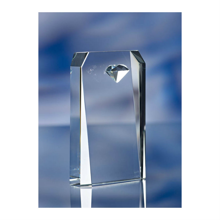3d crystal embedded diamond glass award trophy