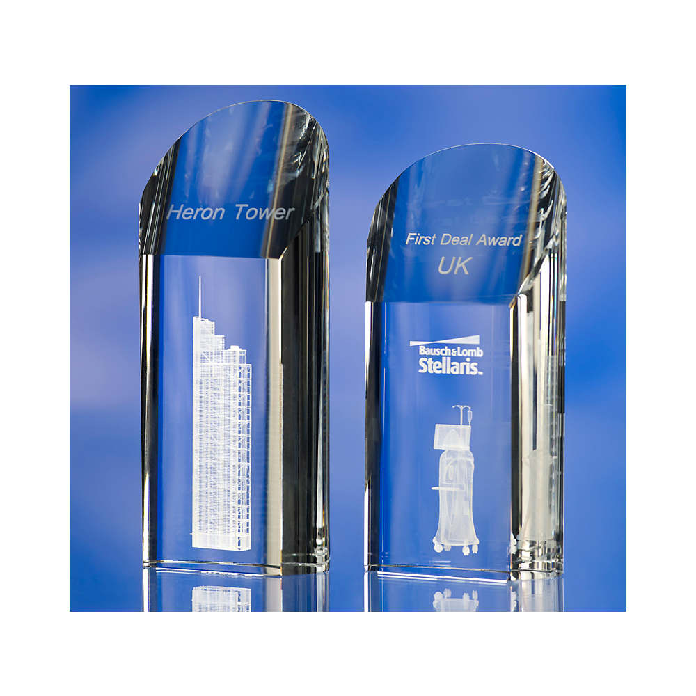 3D crystal rounded pentagon glass award trophy