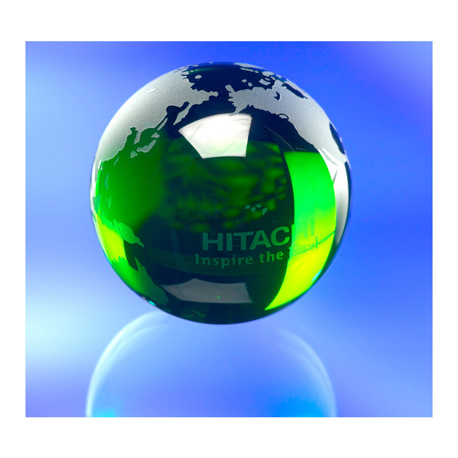3D crystal sphere green award trophy Hitachi