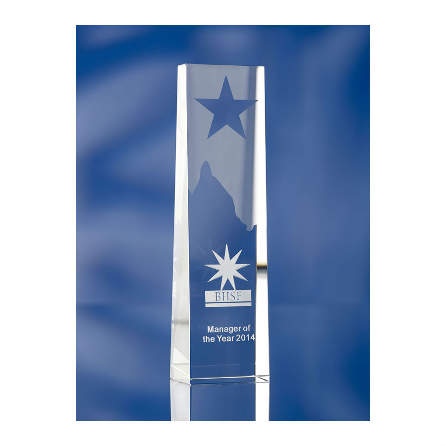 3D crystal star obelisk BHSF manager of the year