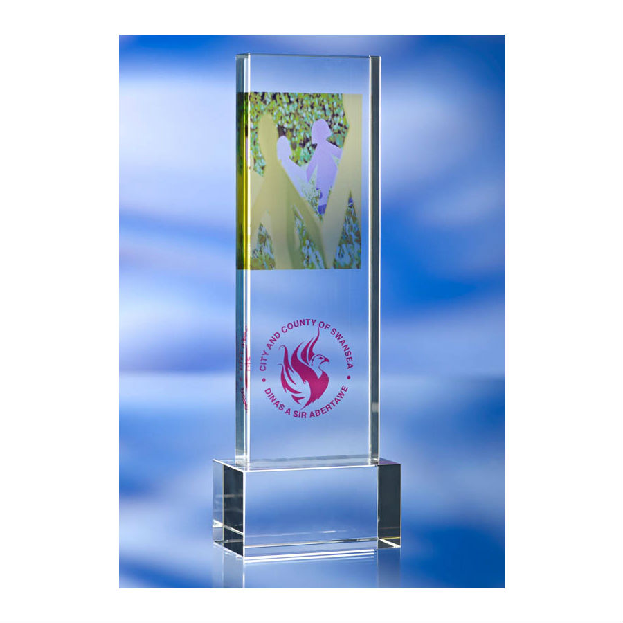 3D crystal tall boy award Swansea City & Council