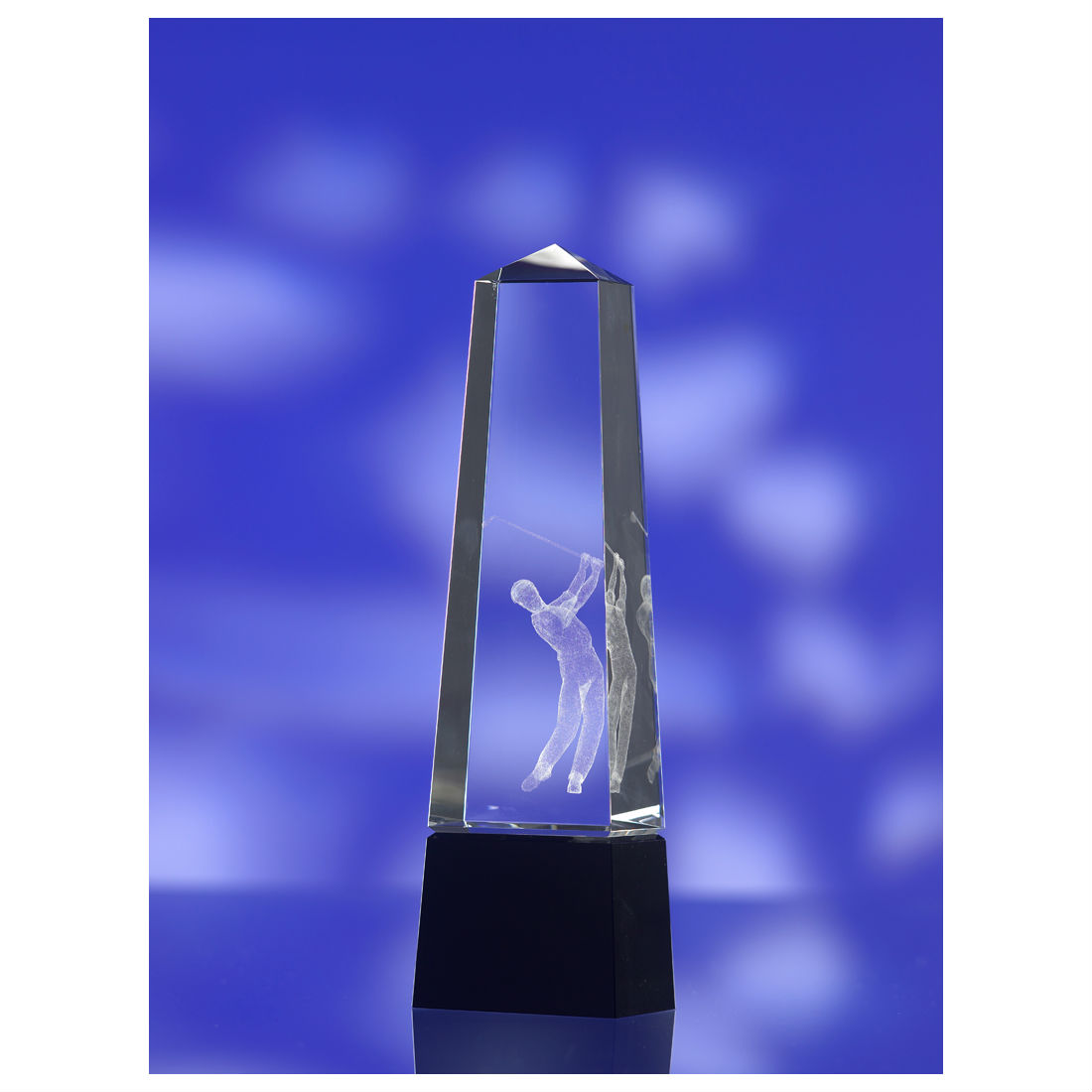 3D crystal tall boy golf award trophy
